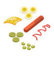 ingredients for hot dog vector image vector image