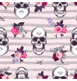 kitschy seamless pattern with human skulls and vector image vector image