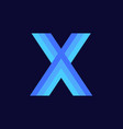 logo letter x blue glowing vector image