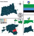 map of tartu estonia vector image vector image