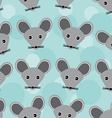 Mouse Seamless pattern with funny cute animal face vector image
