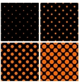 Orange polka dots on black background set