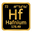 periodic table element hafnium icon vector image vector image