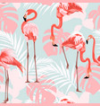 pink flamingo graphic palm leaves blue background vector image vector image