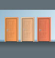 realistic detailed 3d wooden doors set vector image