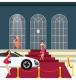 red carpet girl from car glamour party vector image vector image