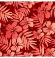 Red tropical flowers and leaves seamless pattern vector image vector image