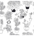 seamless pattern different house plants vector image vector image