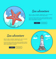 set of banners dedicated to sea adventures vector image vector image