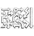 set of sketchy hatched arrows doodles vector image