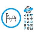 Sine Plot Flat Icon with Bonus