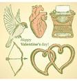 Sketch cute Valentine set vector image vector image