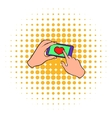 Smartphone in hands with heart on the screen icon vector image vector image