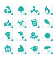 stylized simple ecology and recycling icons vector image vector image