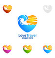 travel and tourism logo with love seaand beach vector image vector image