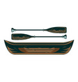 vintage wooden boat canoe with couple oars vector image