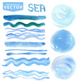 watercolor stainsbrusheswavesblue seaocean vector image