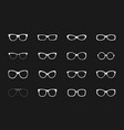 white glasses rims collection on black vector image vector image