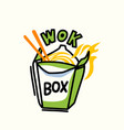 wok box with noodles fire and chopsticks design vector image