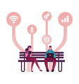young people characters using gadgets sitting vector image