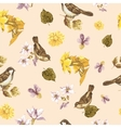 Seamless Watercolor Background with Sparrows vector image