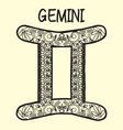 stylized cartoon GEMINI sign zodiac vector image