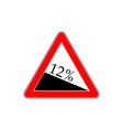 10 percent down grade sign descent road sign
