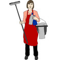 a woman providing housecleaning vector image