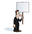 Angry business man with protest sign vector image vector image
