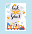 back to school banner children railway and red vector image