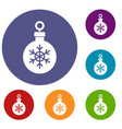 ball for the christmas tree icons set vector image vector image