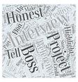 Be Honest in Job Interviews Word Cloud Concept vector image vector image