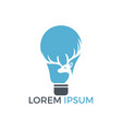 beautiful deer and electric light bulb logo design vector image