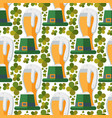 beer glass seamless pattern clover patrick vector image
