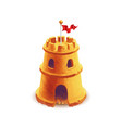 bright cute sand castle with red flag on white vector image