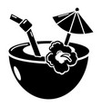 coconut cocktail icon simple black style vector image vector image