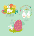 collection easter bunny with colorful egg vector image