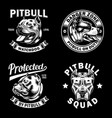 collection pit bull emblem and logo vector image