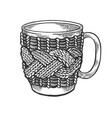 cup with handmade fancywork engraving vector image vector image
