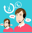 customer service and support open 24 hours vector image vector image