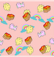 cute cat seamless pattern with cake and rainbow vector image vector image