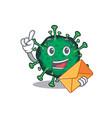 cute face bat coronavirus mascot with envelope