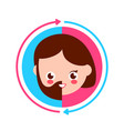 cute smiling happy half male and half female vector image vector image