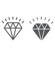 diamond line and glyph icon expensive and luxury vector image vector image