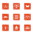 distribution icons set grunge style vector image