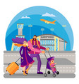 family with kid travels together happy couple on vector image vector image