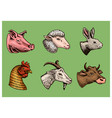 farm animals head of a domestic pig goat cow vector image vector image