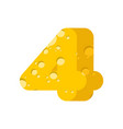 figure 4 cheese font numeral four of cheesy vector image vector image