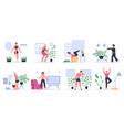fitness at home people exercising practice yoga vector image vector image