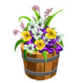 flower pot in the shape of a old wooden bucket vector image vector image